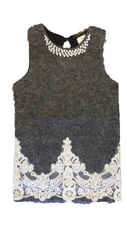 Gray Sleeveless Dress With Lace Trim - Too Cute for You Baby and Toddler Boutique - 1