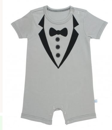 Gray Tuxedo Romper - Too Cute for You Baby and Toddler Boutique - 1