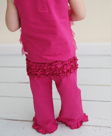 Fuchsia Knit Ruffle Crawler - Too Cute for You Baby and Toddler Boutique