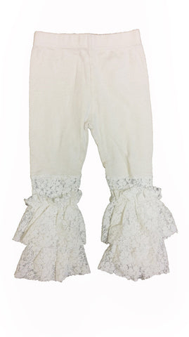 Ivory Lace Bottom Leggings - Too Cute for You Baby and Toddler Boutique