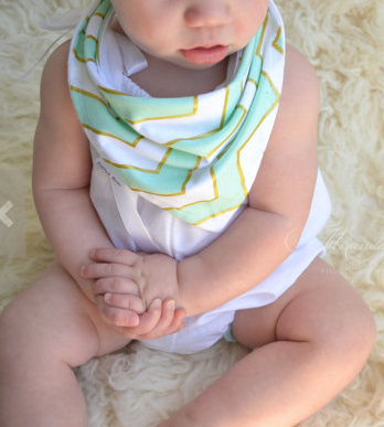 Baby Bandanna Bib Scarf in Mint and Gold Chevron - Too Cute for You Baby and Toddler Boutique