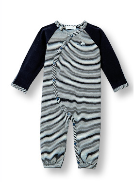 Stripe Navy One-Piece Footless Coverall with Little Mouse Detail - Too Cute for You Baby and Toddler Boutique - 1