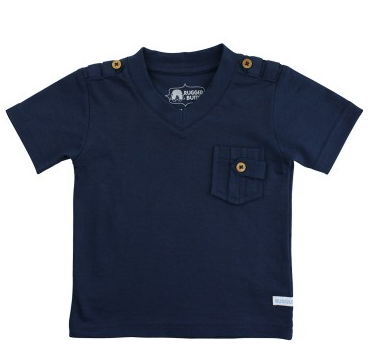 Navy V-Neck Pocket Tee - Too Cute for You Baby and Toddler Boutique