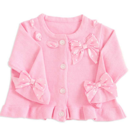 12-18 Months Pink Cardigan with Polka Dot Ribbon Detail - Too Cute for You Baby and Toddler Boutique - 1