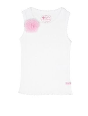 White w/Pink Flower Tank Top - Too Cute for You Baby and Toddler Boutique - 1