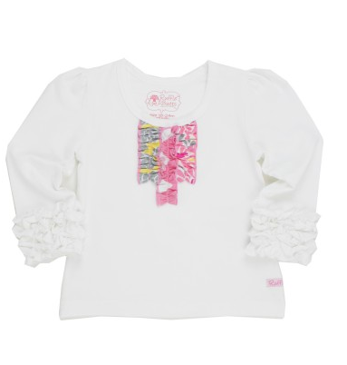 White Tri-Ruffle LS Tee - Too Cute for You Baby and Toddler Boutique - 1