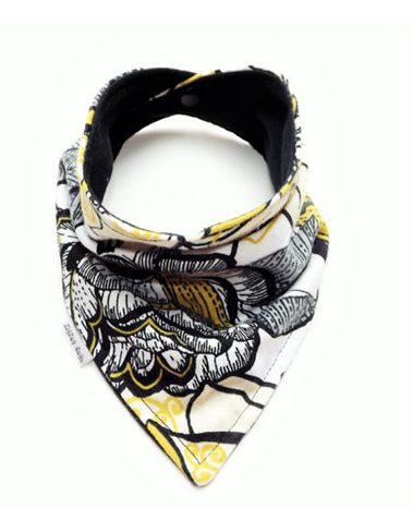 Baby Bandana Bib Scarf in Yellow and Black Floral Flannel - Too Cute for You Baby and Toddler Boutique
