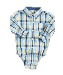 6-12 Months Yellow/Blue Plaid with Navy Contrast Oxford Long Sleeve Shirt - Too Cute for You Baby and Toddler Boutique