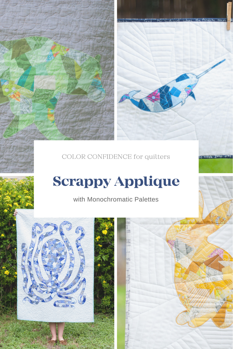 Scrappy Applique Quilts with Monochromatic Palettes