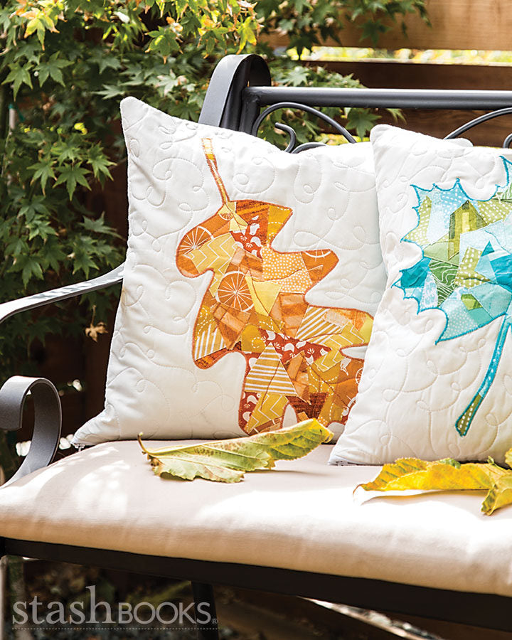 Fallen Leaves Quilted Throw Pillows - Scrappy Bits Applique by Shannon Brinkley