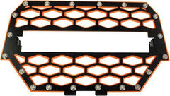 "MODQUAD-2-PANEL FRONT GRILL BLACK/ORANGE W/10"" LIGHT BAR pn# RZR-FGLS-1K-OR - planetrzr.com"