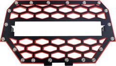 "MODQUAD-2-PANEL FRONT GRILL BLACK/RED W/10"" LIGHT BAR pn# RZR-FGLS-1K-RD - planetrzr.com"