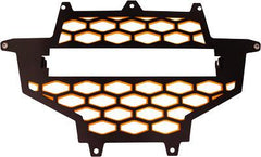 MODQUAD-2-PANEL FRONT GRILL BLACK/ORANGE W/LIGHT MOUNT pn# RZR-FGL- XP-OR - planetrzr.com
