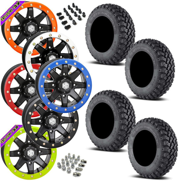 EFX Motohammer STI HD9 Black Beadlock Tire Wheel Kit 31-10-14