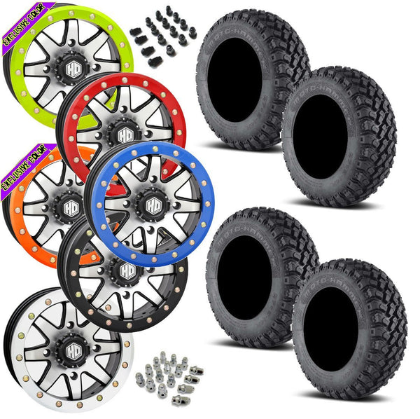 EFX Motohammer STI HD9 Machined Beadlock Tire Wheel Kit 27-9-14