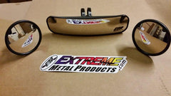 "EMP 13"" Wide Panoramic Rear view Mirror and (2) Round Side Mirrors for 1-3/4"" Round Cages - planetrzr.com"
