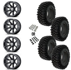 "MSA Black Diesel 14"" Wheels 32"" Crawler XG Tires"