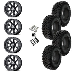 "MSA Black Diesel 14"" Wheels 28"" Crawler XR Tires"