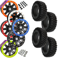 Pro Armor Crawler XR STI HD9 Black Beadlock Tire Wheel Kit 28-10-14
