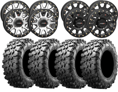 "System 3 SB-3 Beadlock Wheels Maxxis Carnivore UTV Tires 14"" 15"" Package"