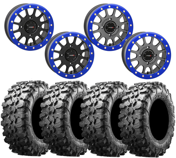 System 3 SB-5 PlanetSXS BLUE Beadlock Wheel and Maxxis Carnivore Tire Kit
