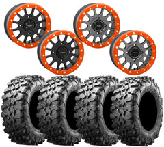 System 3 SB-5 ORANGE Beadlock Wheel and Maxxis Carnivore Tire Kit