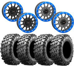System 3 SB-5 '19 RZR Turbo BLUE Beadlock Wheel and Maxxis Carnivore Tire Kit