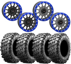 System 3 SB-5 RZR Turbo S BLUE Beadlock Wheel and Maxxis Carnivore Tire Kit