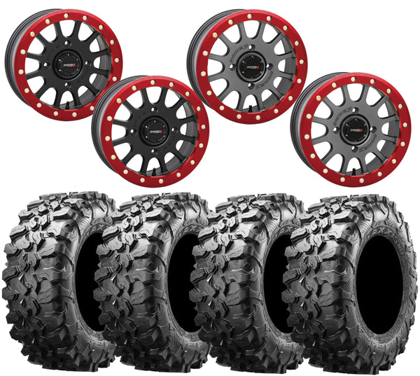 System 3 SB-5 RED Beadlock Wheel and Maxxis Carnivore Tire Kit
