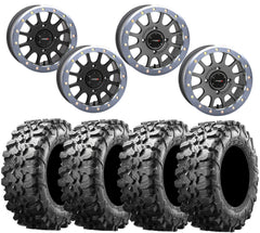 System 3 SB-5 GRAPHITE SILVER Beadlock Wheel and Maxxis Carnivore Tire Kit