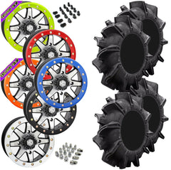 Superatv Assassinator STI HD9 Machined Beadlock Tire Wheel Kit 29.5-8-14