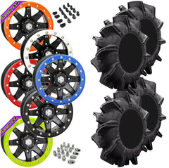 Superatv Assassinator STI HD9 Black Beadlock Tire Wheel Kit 32-8-14