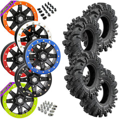 Superatv Intimidator STI HD9 Black Beadlock Tire Wheel Kit 28-10-14