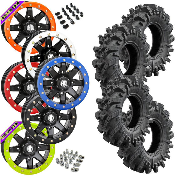 Superatv Intimidator STI HD9 Black Beadlock Tire Wheel Kit 32-10-14