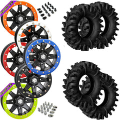 Superatv Terminator STI HD9 Black Beadlock Tire Wheel Kit 28-12-14
