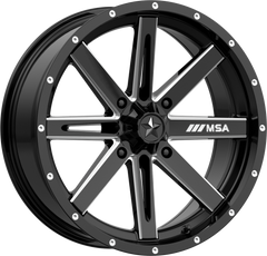 MSA M41 Boxer UTV Wheel Gloss Black Milled Choose Size