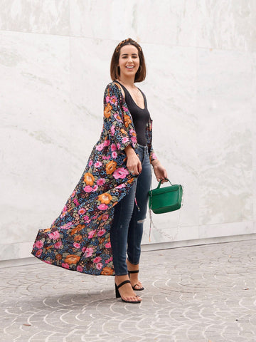 Floral Kimono can be worn as a dress or coverup.