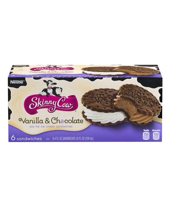 Skinny Cow Low Fat Vanilla & Chocolate Ice Cream Sandwiches