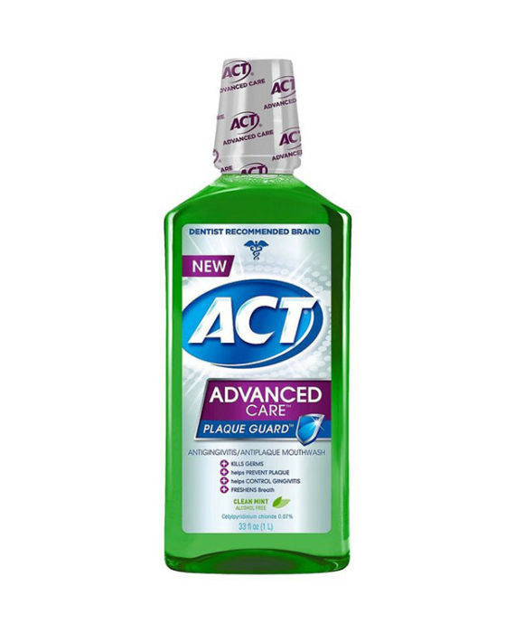 ACT Clean Mint Advanced Care Plaque Guard Antigingivitis/Antiplaque Mouthwash (1L)