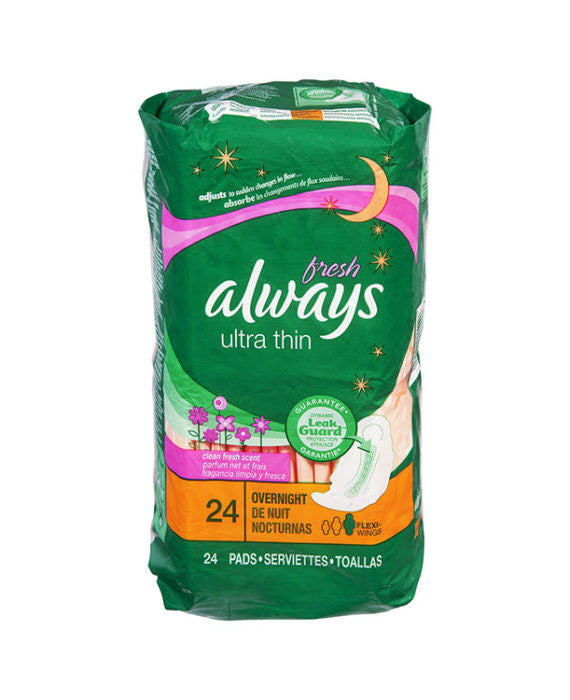Always Ultra Thin Overnight Pads (24ct)