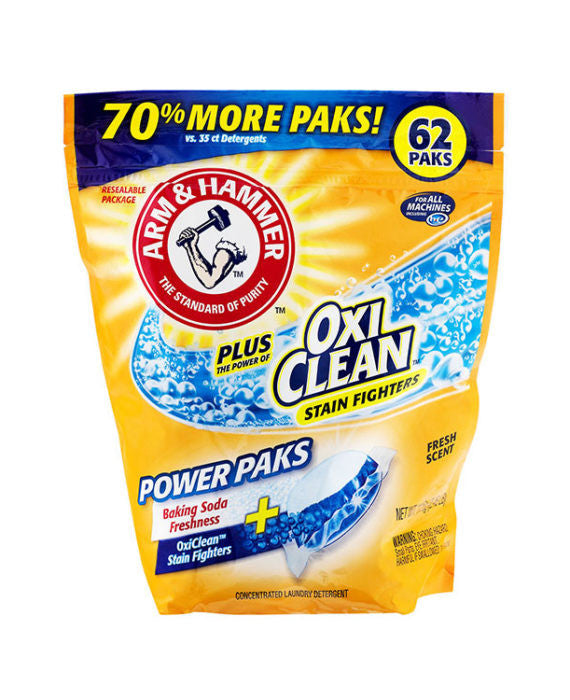 Arm & Hammer Plus Oxiclean Stain Fighters Fresh Scent Power Paks (62ct)