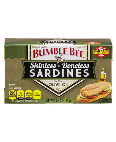 Bumble Bee Skinless and Boneless Sardines in Pure Olive Oil