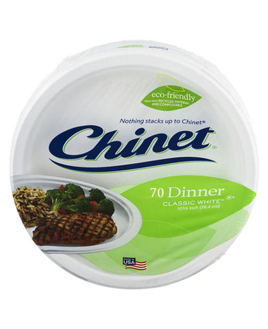 Chinet Classic White Dinner Plates (70ct)