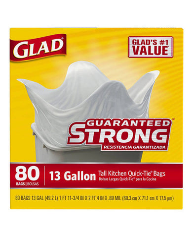 Glad Guaranteed Strong 13 Gallon Tall Kitchen Quick-Tie Bags (80ct)