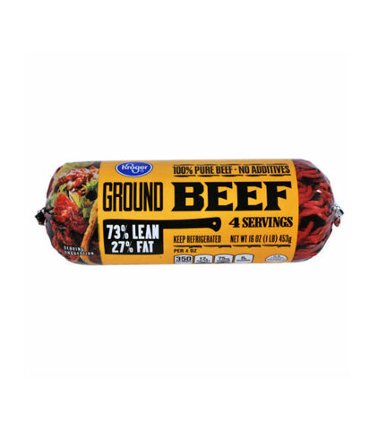 Kroger Tight Wrapped Ground Beef 73% Lean 27% Fat (1lb)