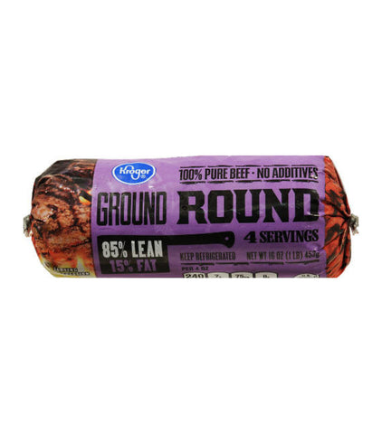 Kroger Tight Wrapped Ground Beef Round 85% Lean 15% Fat (1lb)