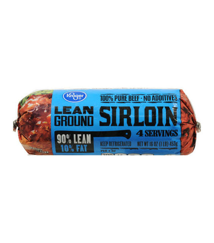 Kroger Tight Wrapped Ground Beef Sirloin 90% Lean 10% Fat (1lb)
