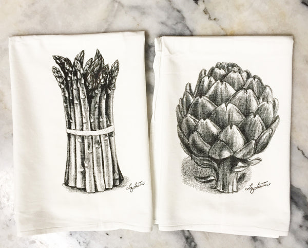 Asparagus and Artichoke black and white drawing printed on flour sack towels