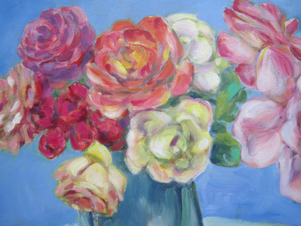 Orange, yellow, pink, red and white roses painting by Liz Lauter