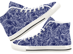 Sketch Roses on Navy High Top